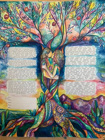 Dahlya and Aaron's Hand Painted Ketubah by Anna Abramzon