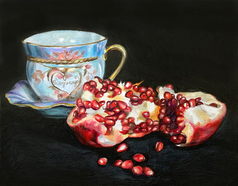 Friday with Pomegranate Still Life by Anna Abramzon, Colored Pencil on Paper