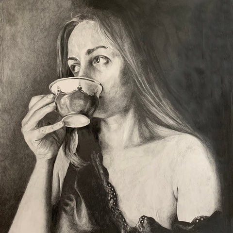 A Moment of Reflection by Anna Abramzon, Graphite on Paper