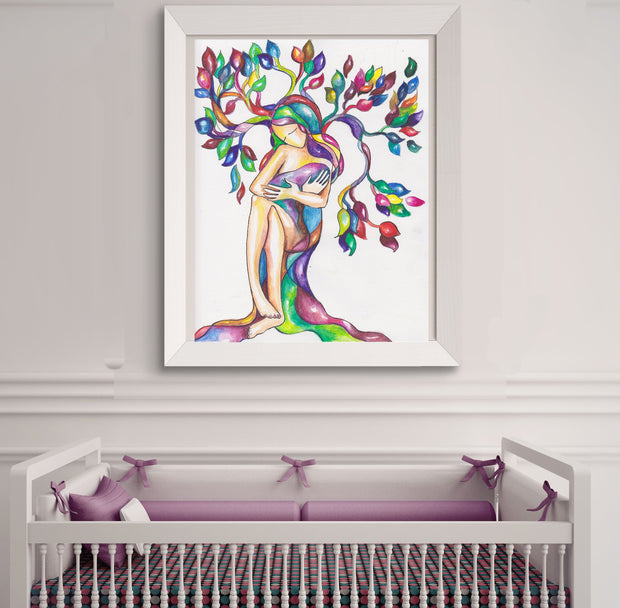 Mother Baby Art Print - Anna Abramzon Studio