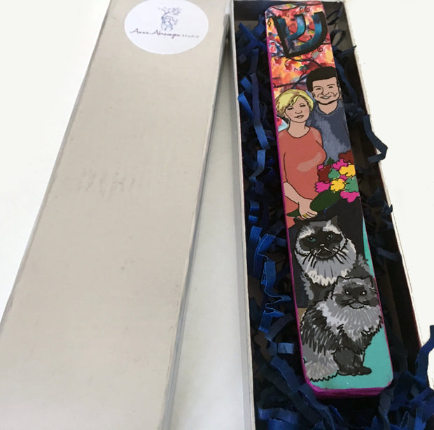Custom Family Portrait Mezuzah Case - Anna Abramzon Studio