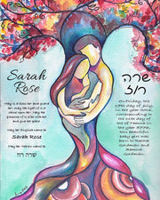 Tree of Life Jewish Baby Naming Certificate in Pink - Anna Abramzon Studio