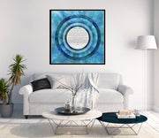 Abstract Ocean Ketubah with Circle Text in Blue - Anna Abramzon Studio