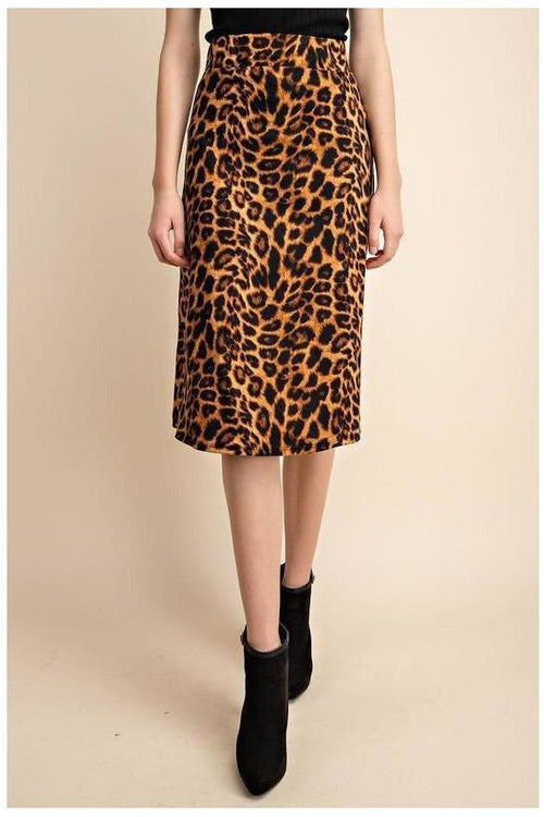 BRUSHED LEOPARD FIT & FLARE MIDI SKIRT