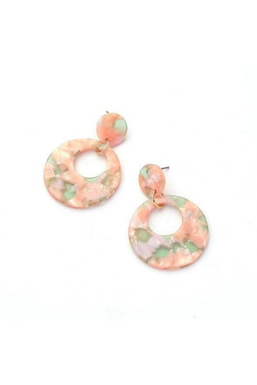 Blush And Lime Marble Design Double Drop Earrings