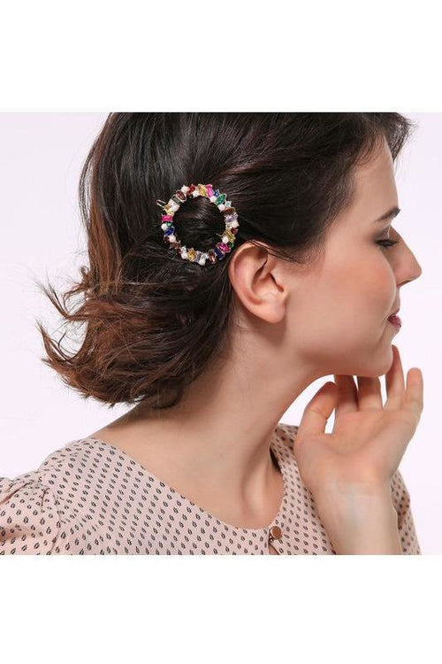 Round Crystal Hair Pin