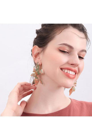 Floral Oval Stone Drop Earrings