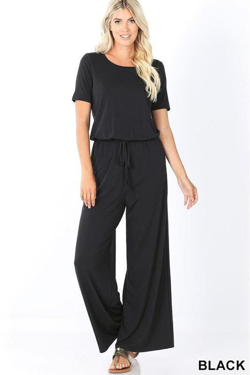 Short Sleeve Elastic Jumpsuit - RMC Boutique
