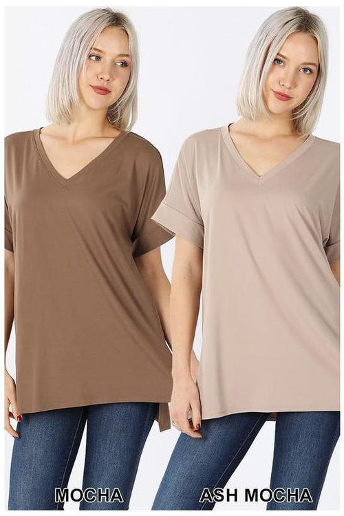 Everyday Collection, Rolled Short Sleeve V-Neck Top - RMC Boutique