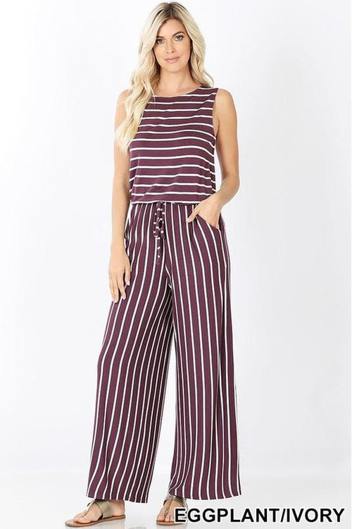 Striped Sleeveless Jumpsuit - RMC Boutique