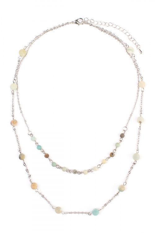 SILVER MULTI NATURAL STONE LAYERED NECKLACE