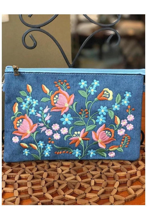 Light Denim Floral Embroidered Clutch