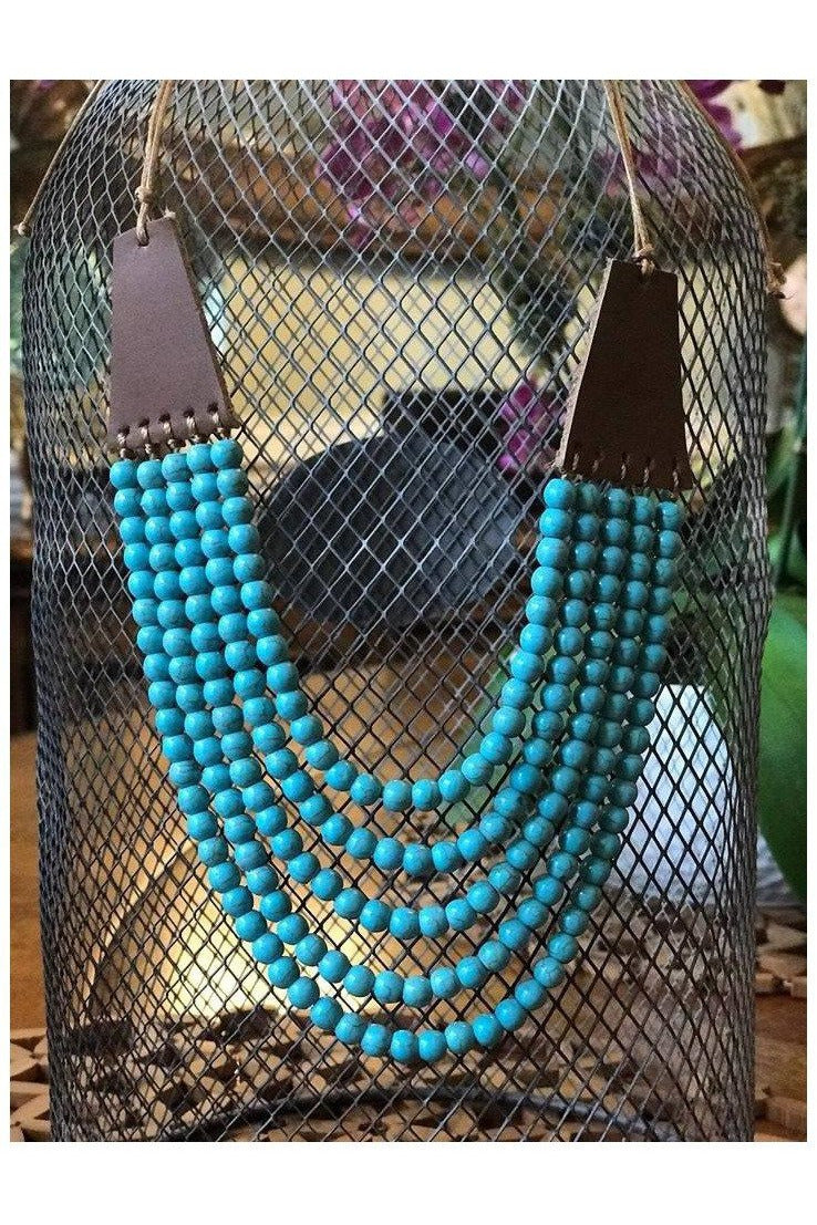 Jillian Leather and Bead Bib Necklace