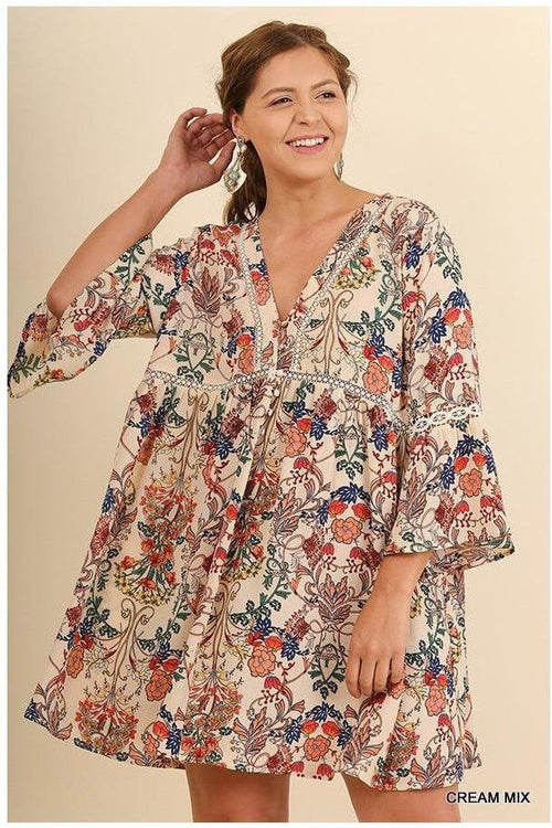 The World Is Full Of Inspiration, Floral Bell Sleeve Dress, Plus