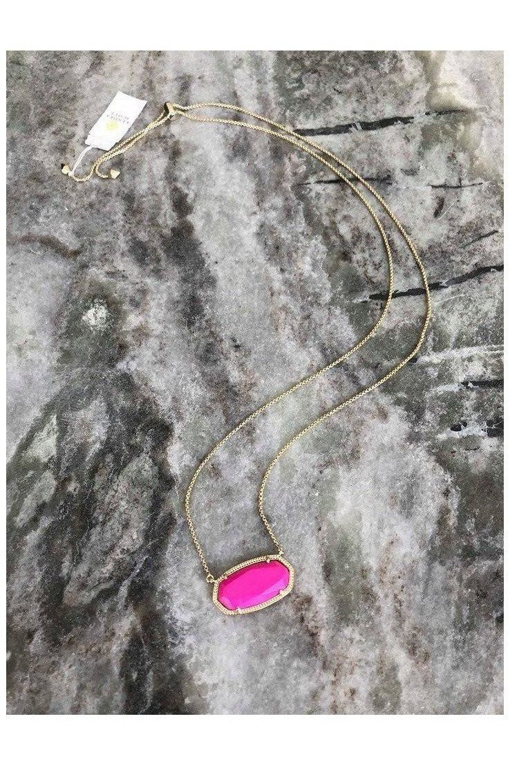 Kendra Scott: Delaney Pendant Necklace In Gold and Magenta