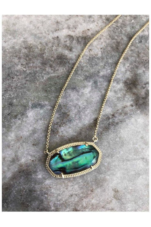Kendra Scott: Delaney Pendant Necklace In Abalone Shell and Gold