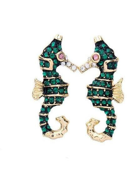 Emerald Seahorse Statement Earrings