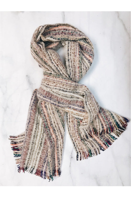 Thick Striped Pattern Knit Oblong Scarf
