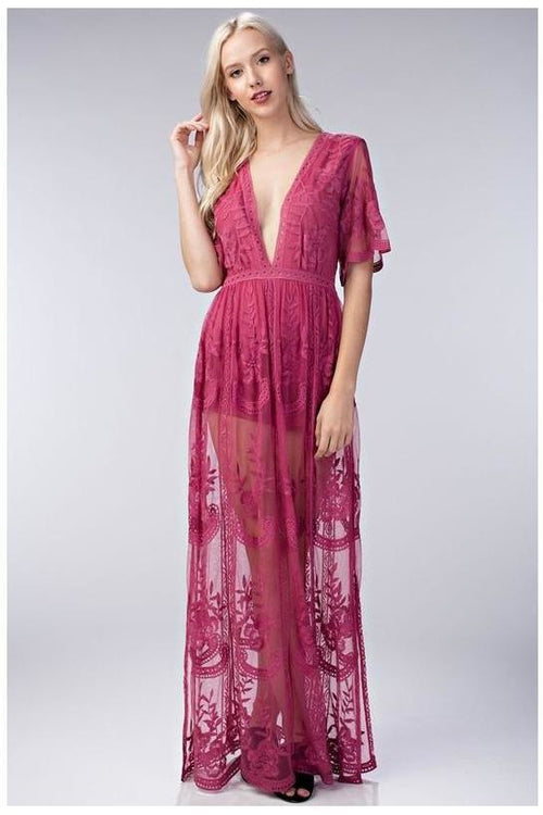 Chloe Maxi Dress, Berry