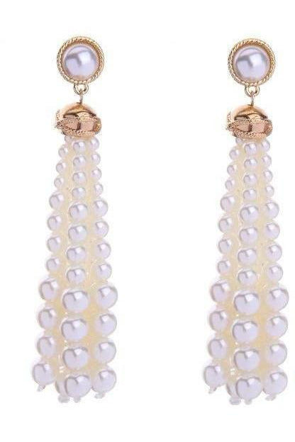 Baubles and Bubbles Round Bead Tassel Earrings