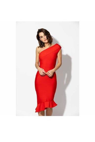 Haute Rogue - Red one shoulder bodycon dress