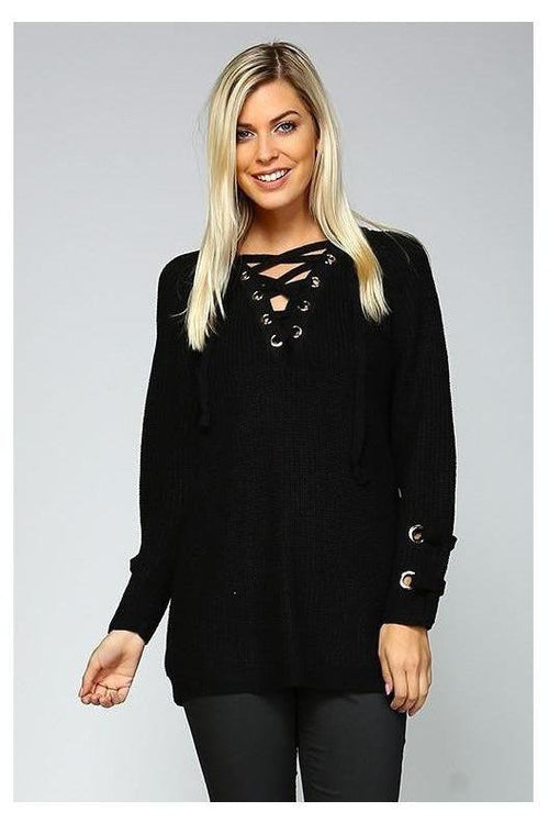 LACE ME UP OVER-SIZED SWEATER, Black - RMC Boutique  - 1