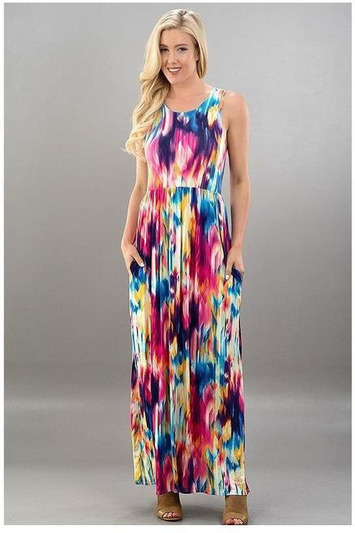 Colorful Water Color Maxi Dress