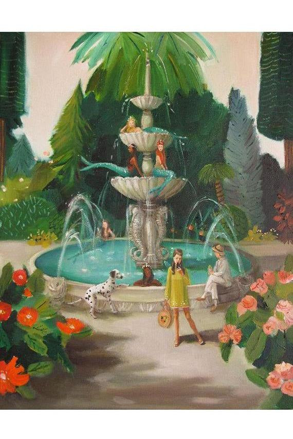 Janet Hill Studio - Selfie At The Mermaid Public Fountain Art Print - 8.5 X 11