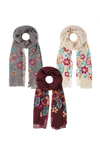 Floral Cross titch Scarf