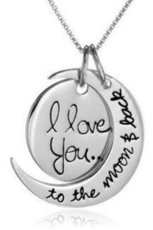 """I Love you to the Moon and Back"" Silver Plated Pendant Necklace - RMC Boutique"