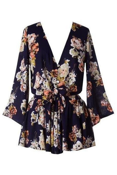 Sweet Serenity, Navy Floral Bell Sleeve Two Piece Set