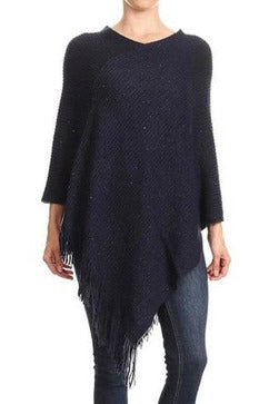 Sequin Trimmed V-Neck Poncho with Fringe Detailing