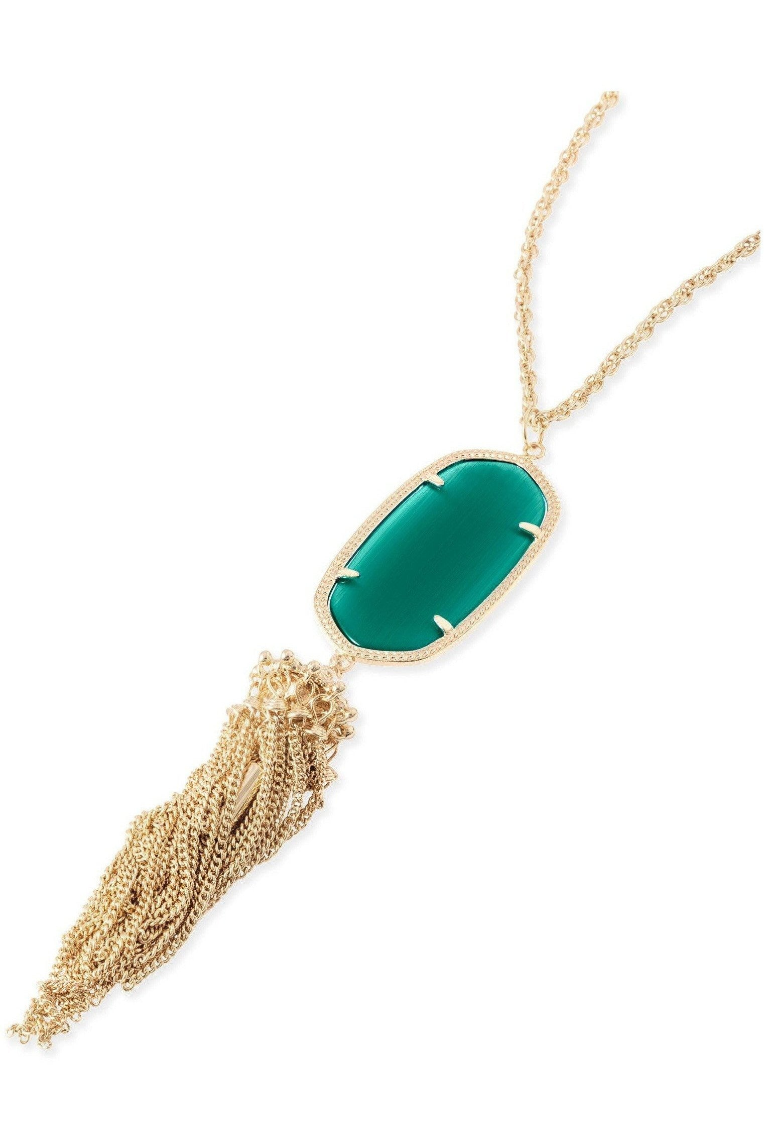 Kendra Scott: Rayne Necklace In Emerald Cat's Eye