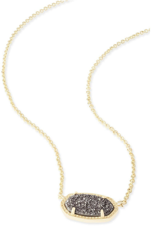 Kendra Scott: Elisa Gold Pendant Necklace In Platinum Drusy