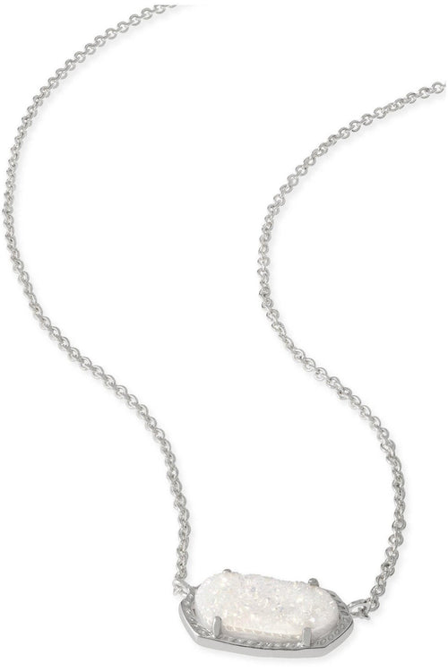 Kendra Scott: Elisa Silver Pendant Necklace In Iridescent Drusy
