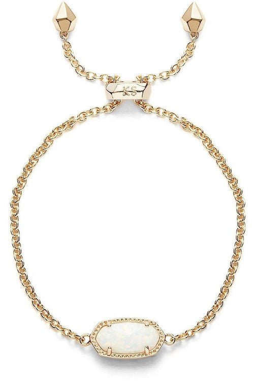 Kendra Scott: Elaina Gold Adjustable Chain Bracelet In White Kyocera Opal