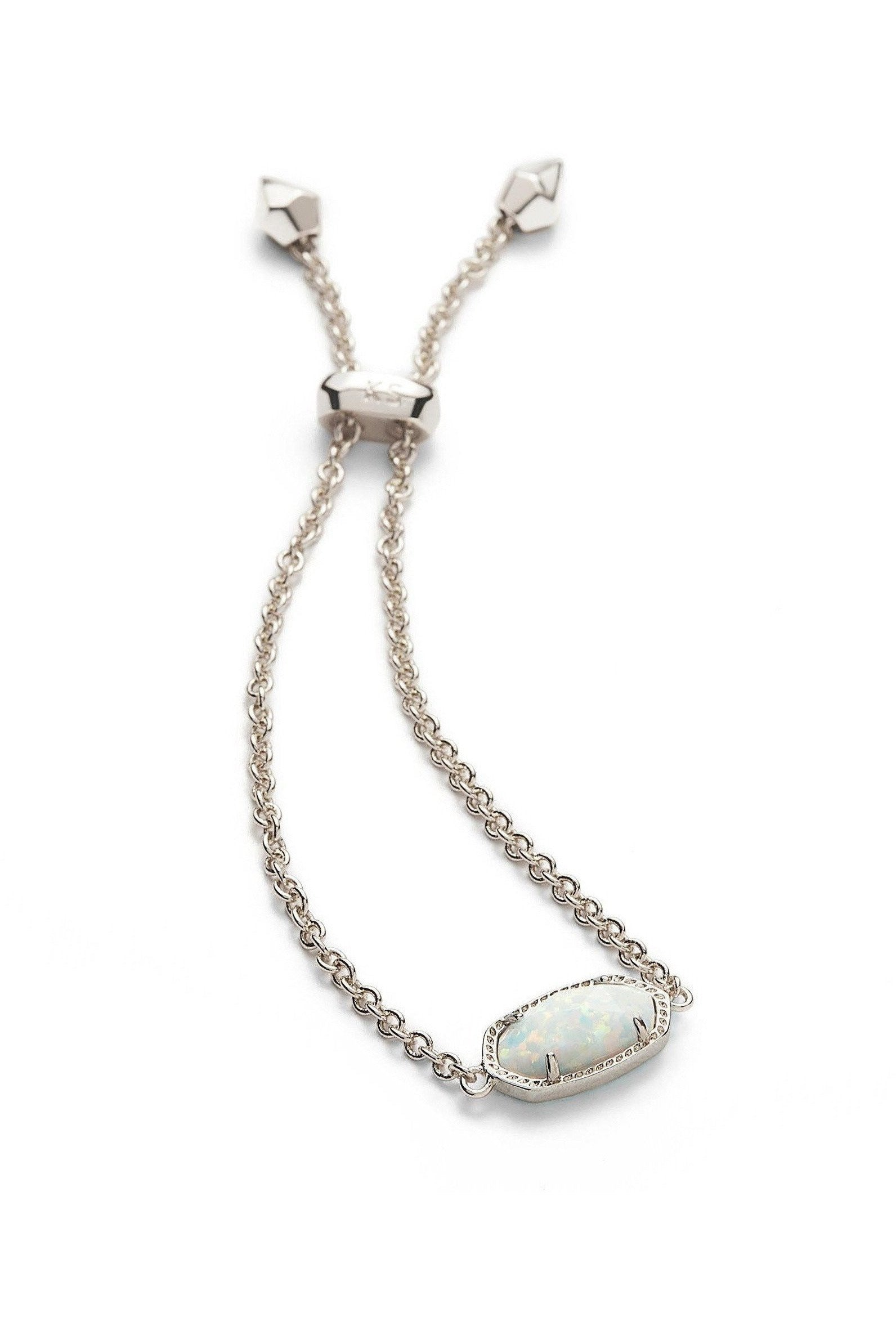 Kendra Scott: Elaina Silver Adjustable Chain Bracelet In White Kyocera Opal