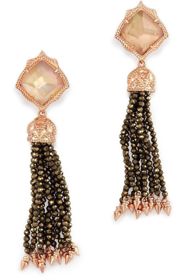 Kendra Scott: Misha Statement Earrings In Brown Pearl