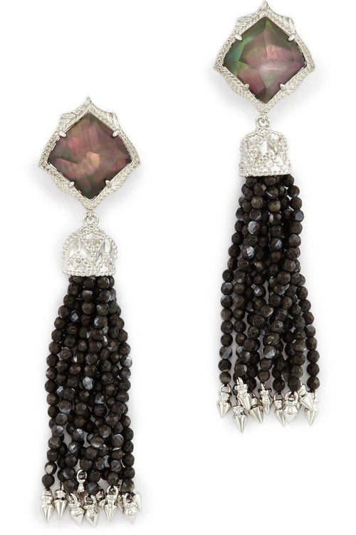Kendra Scott: Misha Clip On Earrings In Black Pearl