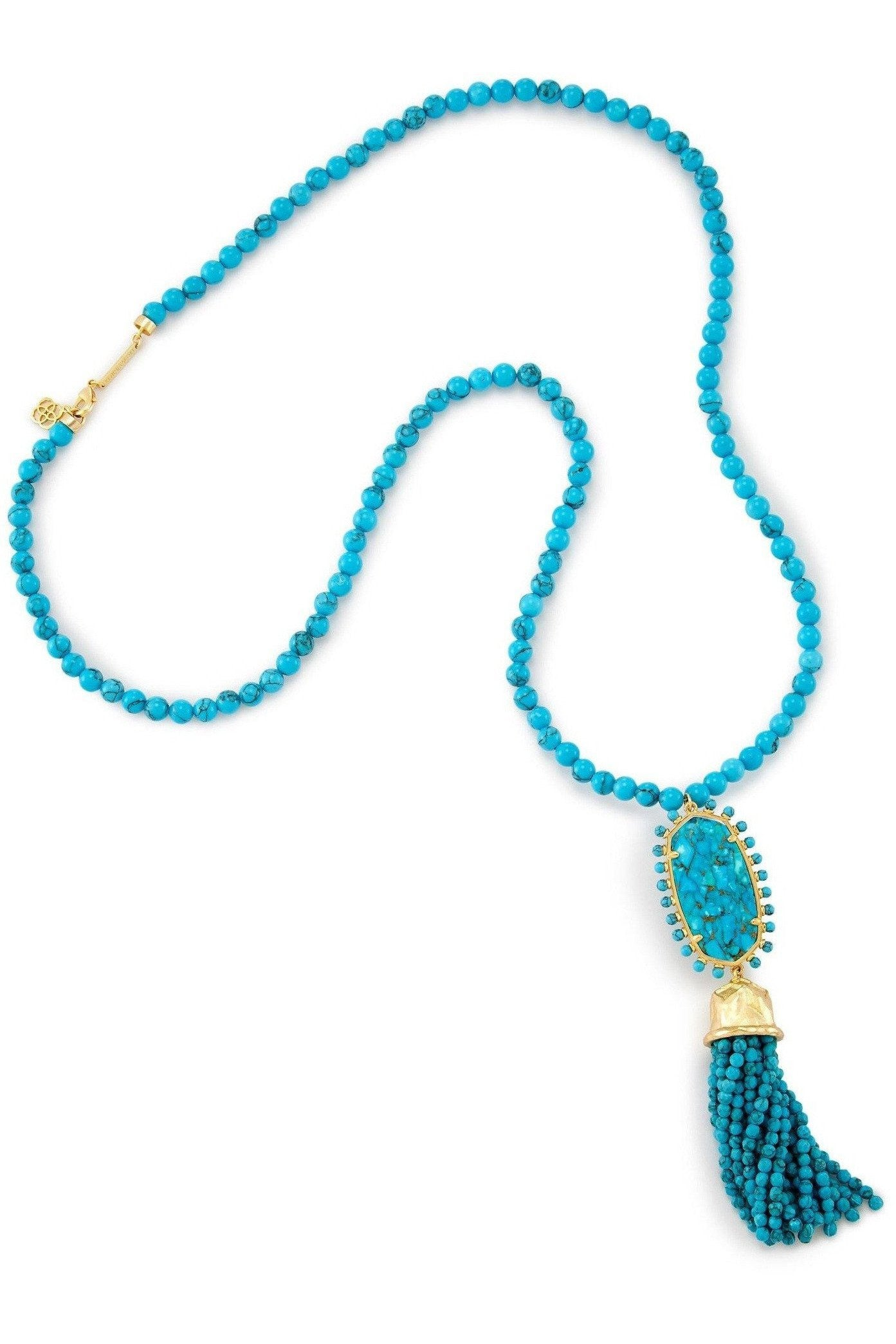 Kendra Scott: Tatiana Long Pendant Necklace In Bronze Veined Turquoise