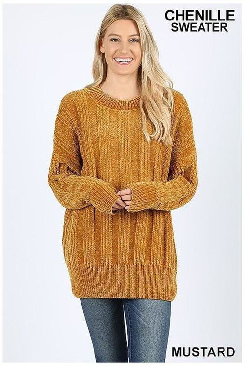 CABLE KNIT ROUND NECK CHENILLE SWEATER