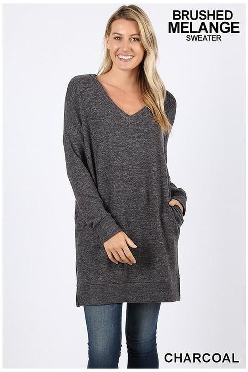 LONG SLEEVE V-NECK BRUSHED MELANGE SWEATER - RMC Boutique