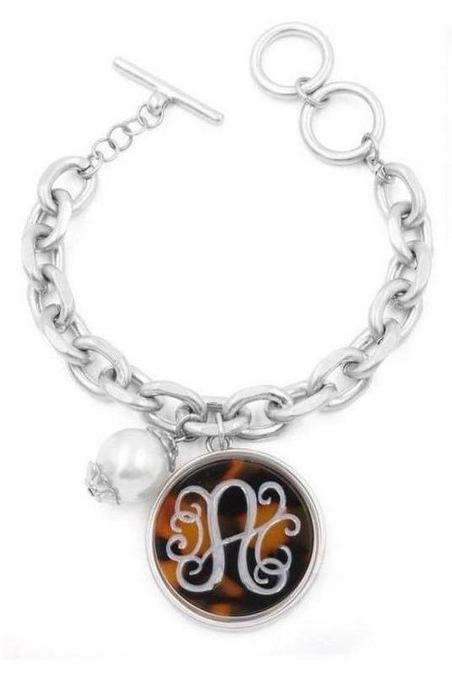 Carved Tortoise Disc Monogram Chain Link And Pearl Bracelet