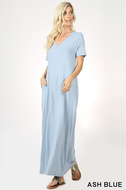 Premium Quality V-NECK SHORT SLEEVE MAXI DRESS WITH SIDE POCKETS - RMC Boutique