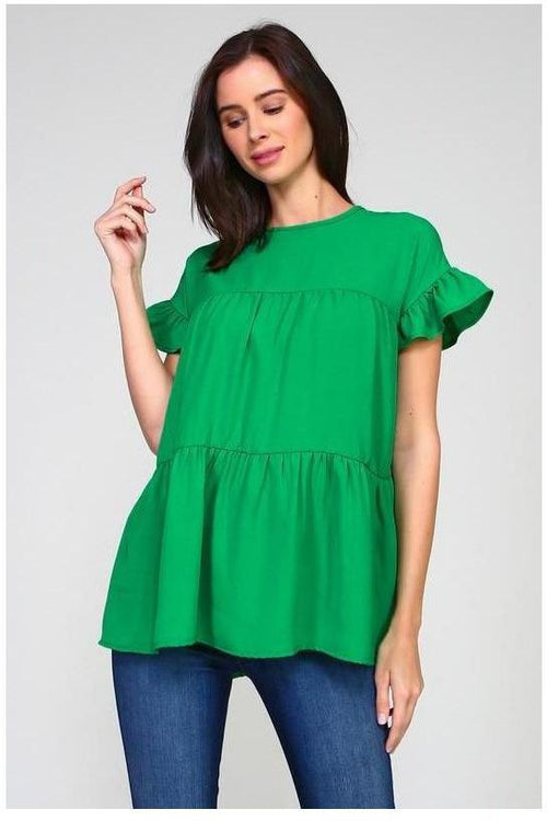 Kelly Green Solid Tiered top