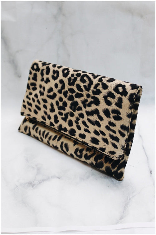 Animal Print Fold Over Clutch