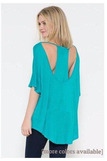 Peek A Boo Short Sleeve Back Layered Top - RMC Boutique