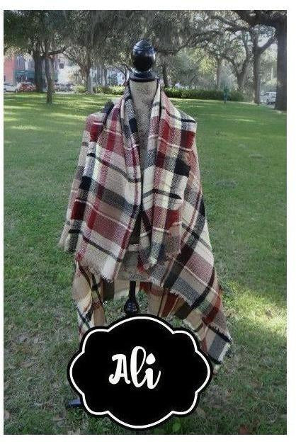 Warm Necessity Over-sized Plaid Tartan Blanket Scarf - RMC Boutique