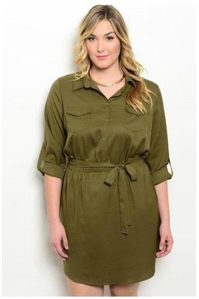 Army Green Shirt Dress in Plus Size - RMC Boutique