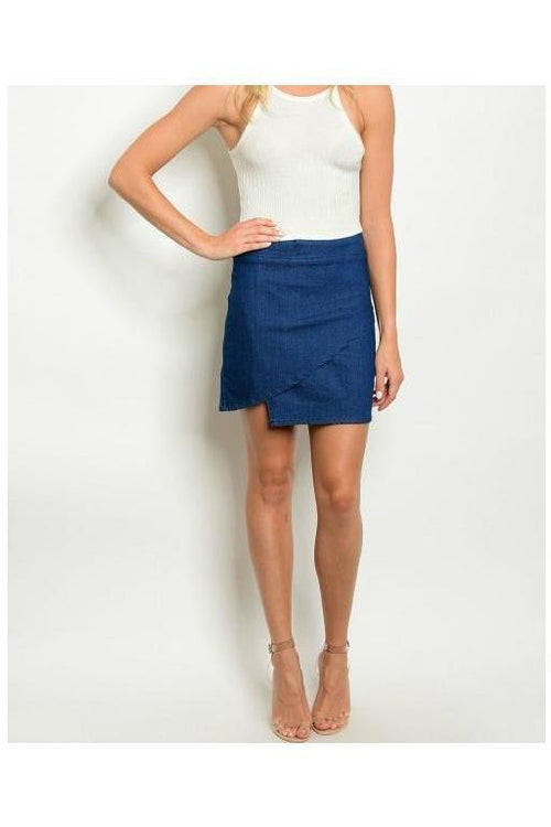 Asymmetrical Denim Wrap Skirt